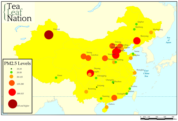 Map of air quality in China
